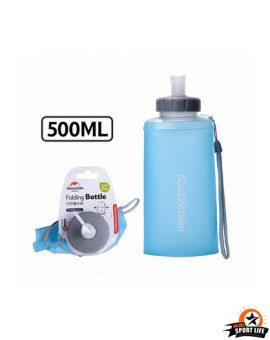 ขวดน้ำซิลิโคนพับได้ ขนาดพกพา ยี่ห้อ Naturehike-500ML-สีฟ้า