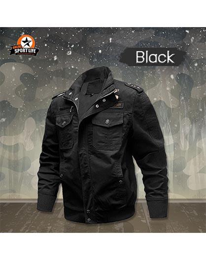 เสื้อแจ็คเก็ต เสื้อjacket เสื้อกันหนาว เสื้อสไตล์ทหาร - ดำ