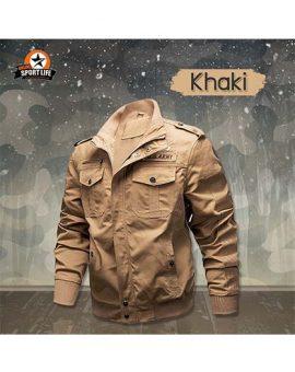 เสื้อแจ็คเก็ต เสื้อjacket เสื้อกันหนาว เสื้อสไตล์ทหาร - กากี