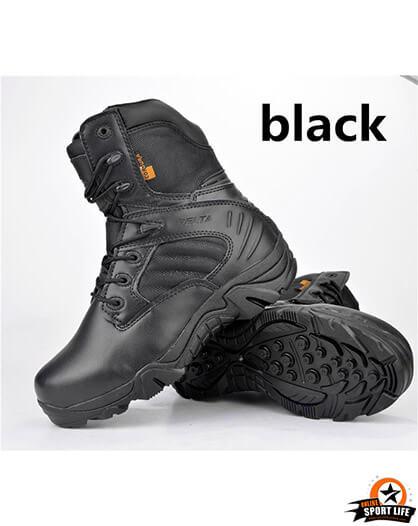 รองเท้าทหาร เดินป่า ขับบิ๊กไบค์ ข้อยาว - สีดำ