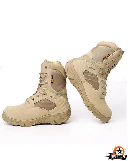 รองเท้าทหาร เดินป่า ขับบิ๊กไบค์ ข้อยาว - สีทราย